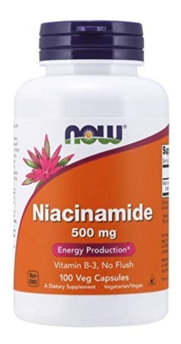 Niacina B3 Niacinamida B3 . 500mg .- 100 Caps Sin Rubor