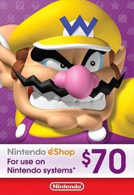 Cartão Nintendo Eshop Usa Switch 3ds Wii U Ecash $70 Dolares
