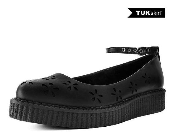 Zapatos Goticos Creepers Negro Ballet Floreado Tuk A9507l