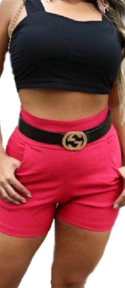 Shorts Cintura Alta Hot Pants Bolsos Acinturado Confortavel