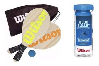 Kit Frescobol Wilson 2 Raquetes + 1 Bola + Sacola + Tubo C/3