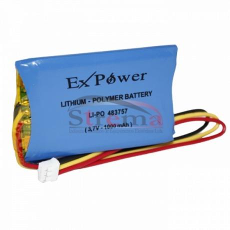 Bateria Li-po Li-polymer 3,7v 1000mah Ex-power 61x32x5mm