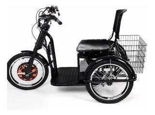 Novo Triciclo Elétrico Scooter Alarme Farol Led Marcha Ré
