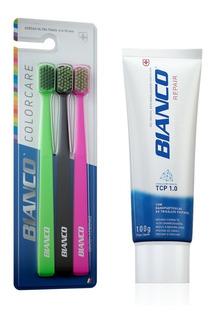 Kit 3 Escovas De Dente Bianco + Creme Dental Repair