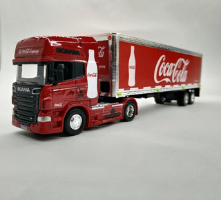 Camion Scania V8 R730 + Semi Furgon Coca Cola 1/64 Welly