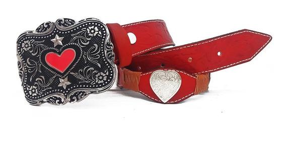Cinto Feminino Couro Country Cowgirl Fivela Girl Heart