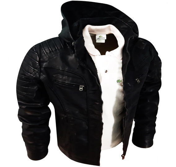 Jaqueta Masculina De Couro Preta Superior Premium Moderna