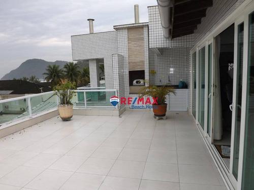 Imagem 1 de 30 de Cobertura ....penthouse  ....3 Dorms  (suíte) Vista Ao Mar   Solarium Com Churrasqueira À 30 Metros Praia   3 Garagens  Tombo, Guarujá/sp - Co0076