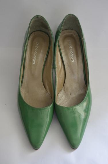 Zapato Mujer Stiletto Cuero Verde Cerrado - Pepe Cantero