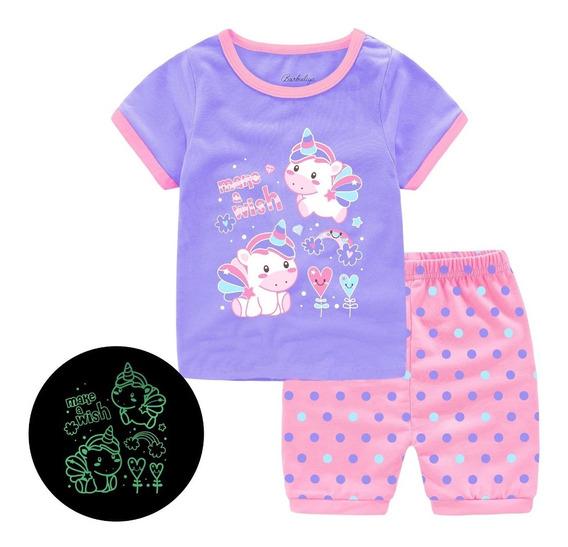 Pijama Niña Brilla En La Oscuridad Unicornio Make A Wish