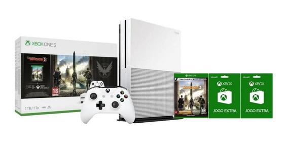Xbox One S 1tb Com Game The Division 2 + Controle + 2 Jogos