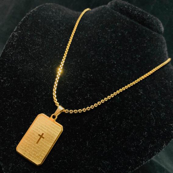 Correntinha De Ouro ,cordão Banhado Ouro Pingente Pai Nosso