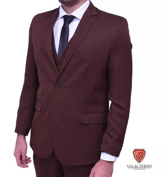 Terno Slim Masculino Oxford Marrom + Gravata