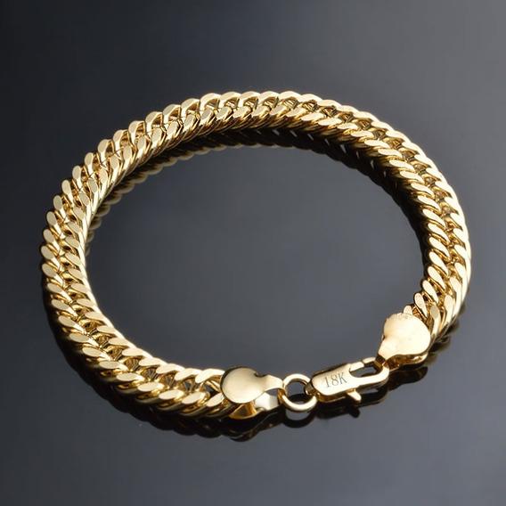 Pulseira Masculina Banhada Ouro 18k Dourada 8 Mm Elos C933