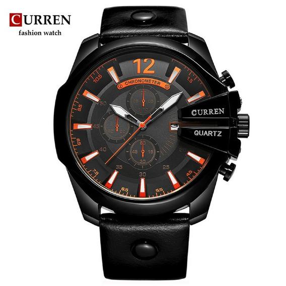 Relógio Original Masculino Quartz Curren Couro Social Sport