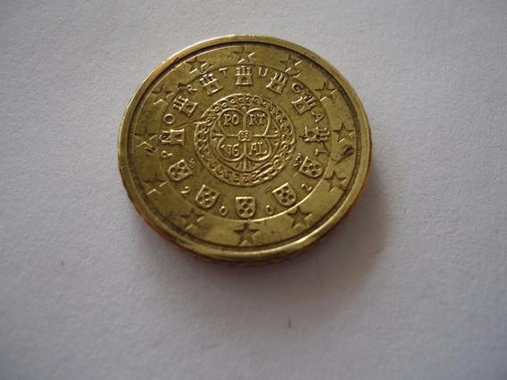 Moeda Bronze Alumínio 50 Cent Euro 2002 República Portugal
