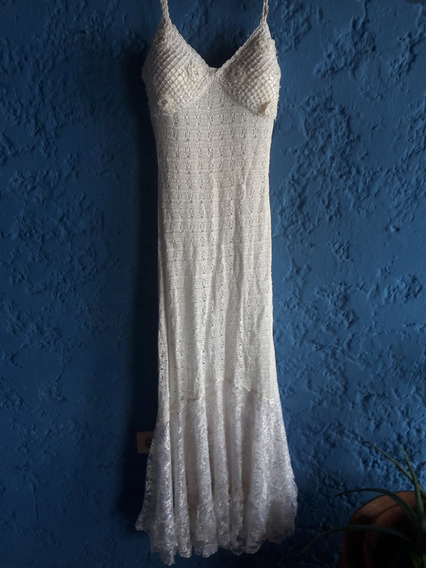 Hermoso Vestido Largo Blanco Talla S - 18v