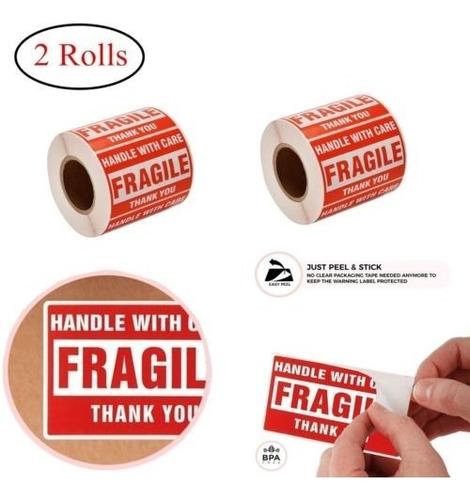 Imagen 1 de 6 de 2 Rollos 500/rollo 2 X 3 Etiquetas Engomadas Frágiles Mango