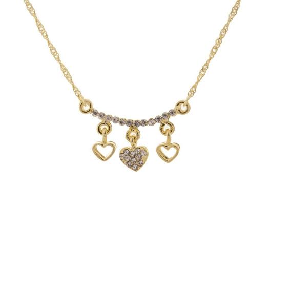 Colar Dourado Coração Triplo Dourado