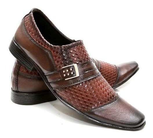 Sapato Social Masculino Em Couro Ecológico Marrom Barato