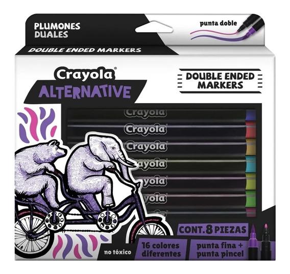 Plumones Crayola Alternative Dual 16 Colores En 8 Piezas