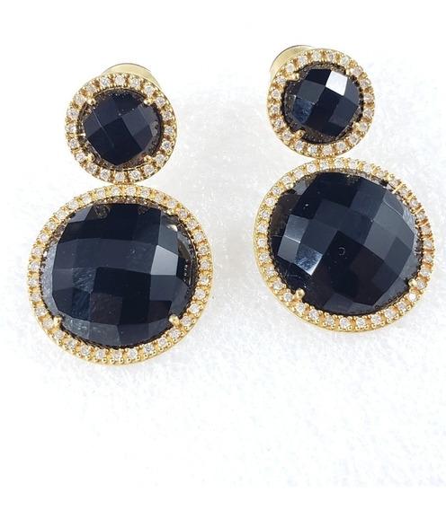 Vivara Brincos Royal De Ouro Amarelo Com Onix E Diamantes