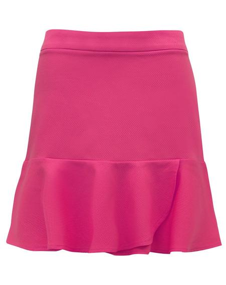 Minissaia Curta Godê Drapeada Mini Saia Babado Feminina Pink