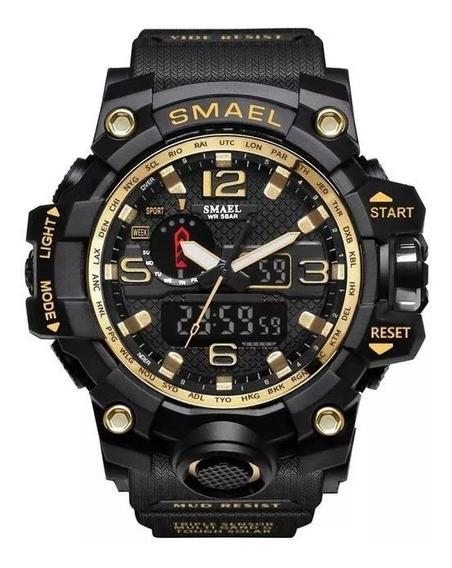 Relogio Esportivo Militar Smael Black/gold + Caixa Original