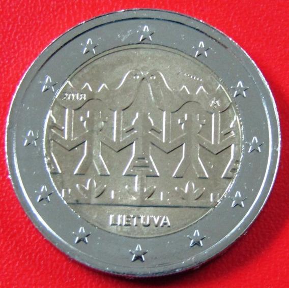 Lituania Moneda Bimetalica 2 Euros 2018 Unc Cantos Y Bailes
