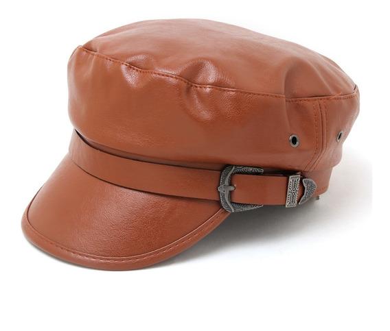 Boina Gorra Sombrero Eco Cuero Capitán Mujer Hombre