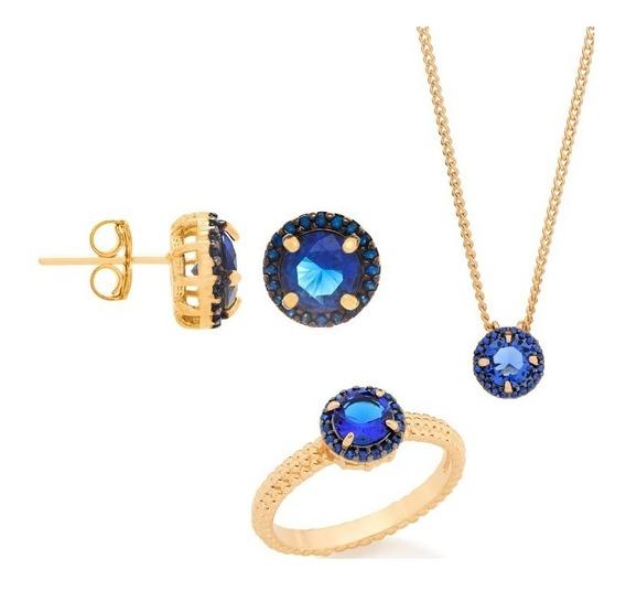 Conjunto Folheado Ouro Anel Brinco Colar Cristal Azul Lindo