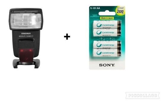 Yongnuo Yn 568 Ex Ill + Pilhas Sony Aa 2500mah Para Canon