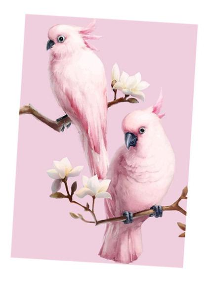 Pink Papagaio 5d Diamante Pintura Bordado Diy Cruz Ponto Kit