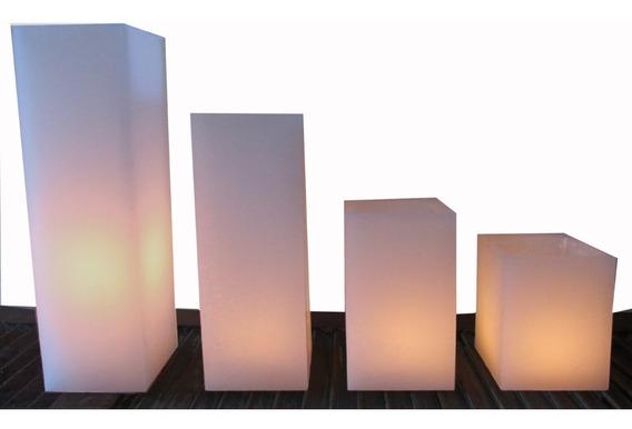 4 Velas Luminária Quadrada Decoração Casamento E Corredor