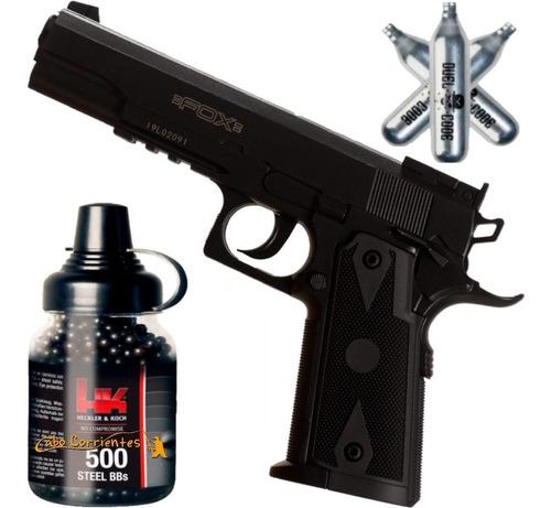 Pistola Aire Comprimido Co2 Fox Colt 1911 Replica + Kit