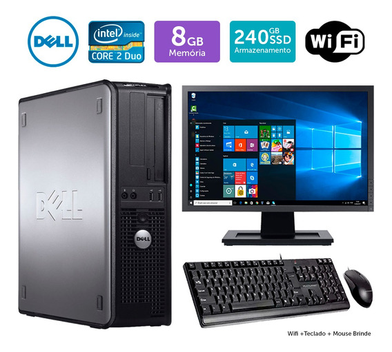 Desktop Barato Dell Optiplex 780int C2duo 8gb Ssd240 Mon19w