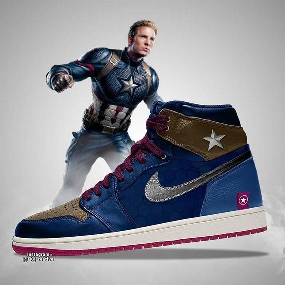 Tenis Jordan Retro 1 Capitan America Avengers
