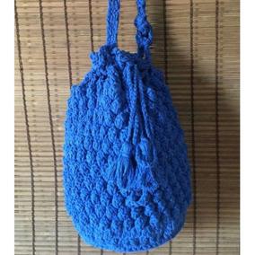 3f0873a1d Bolsa Saco De Croche - Bolsas Femininas Azul no Mercado Livre Brasil