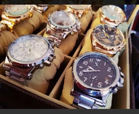 Kit C/ 10 Relógios Masculinos Aço Atacado Revenda + Caixa
