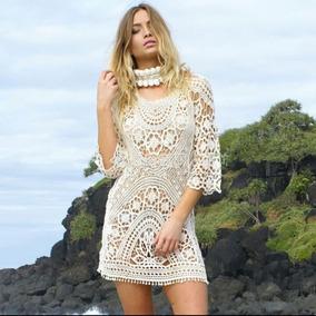 Saida Praia Blusa Vestido Crochê Branco Envio Imediato! 2803