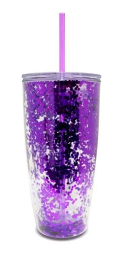 Imagen 1 de 1 de Vaso Glitter Con Popote De Acrilico Regalo Bebida Fria