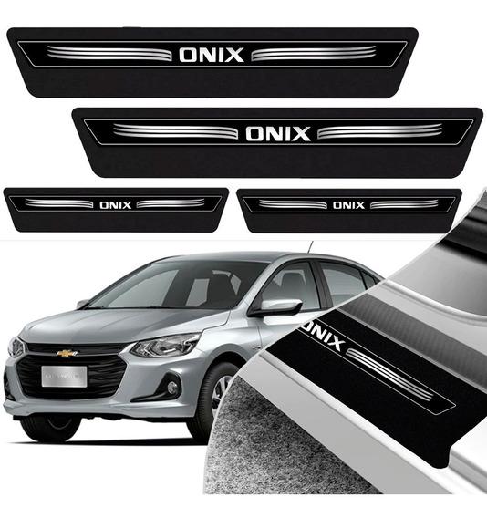 Kit 8 Peças Soleira Adesivo Onix 2020 Plus Premier - Preto