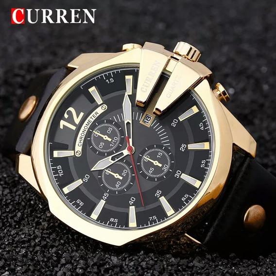Relógio Curren 8176 Original Na Caixa Pulseira De Couro Sint