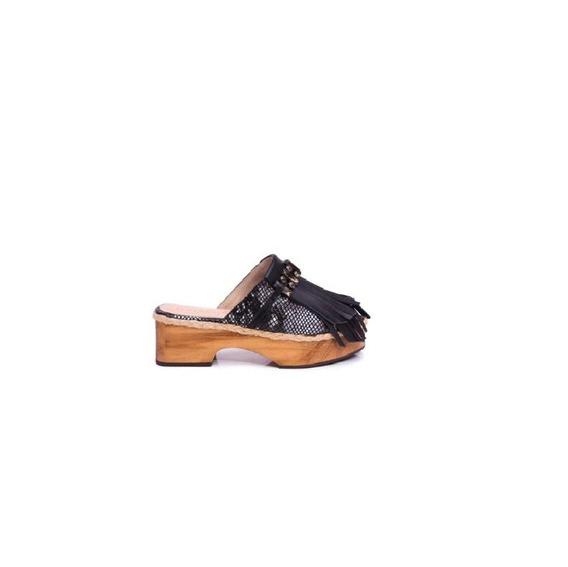 Zapato Mujer Zueco Natacha Cuero Reptil Negro #2993