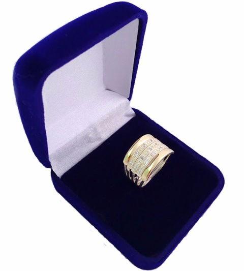 Lindo Anel Prata 950 Ouro Maciço 5 Elos Cravejado Zircônias