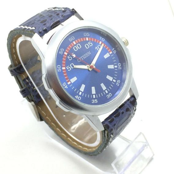Reloj Citizen Cuarzo Japones Dial Azul 43 Mm Correa Piel 9