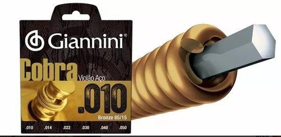 10 Jogos De Cordas Violão Cobra Aço 010 Bronze Giannini