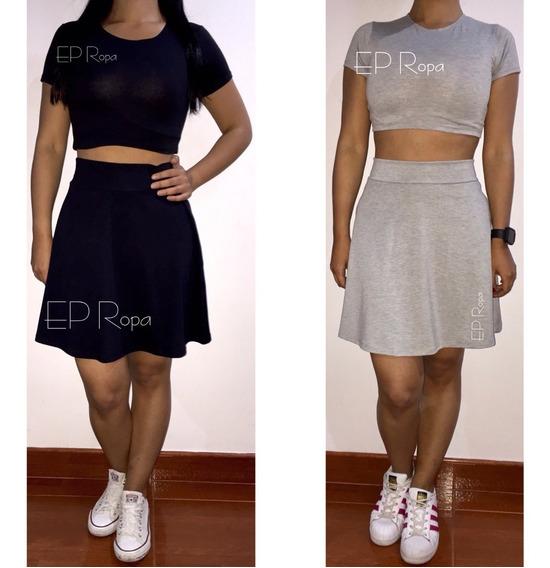 Conjunto Blusa Y Falda Rotonda Set Moda Juvenil Mujer Casual