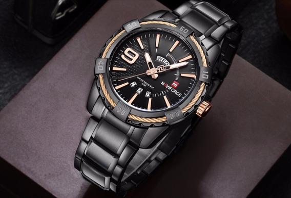 Relógio Masculino Naviforce 9117 Preto Com Dourado
