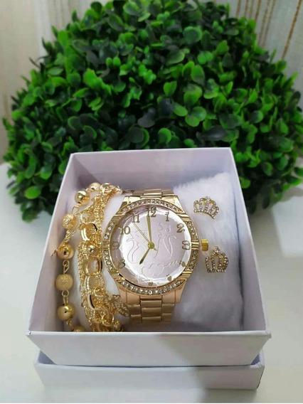 Kit Relógio Feminino + Pulseira Temos Relógios Masculinos